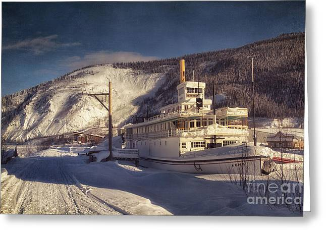 Goldrush Greeting Cards - S.S. Keno Sternwheel Paddle Steamer Greeting Card by Priska Wettstein