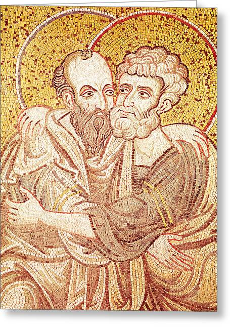 Saints Peter And Paul Embracing Greeting Card by Byzantine School