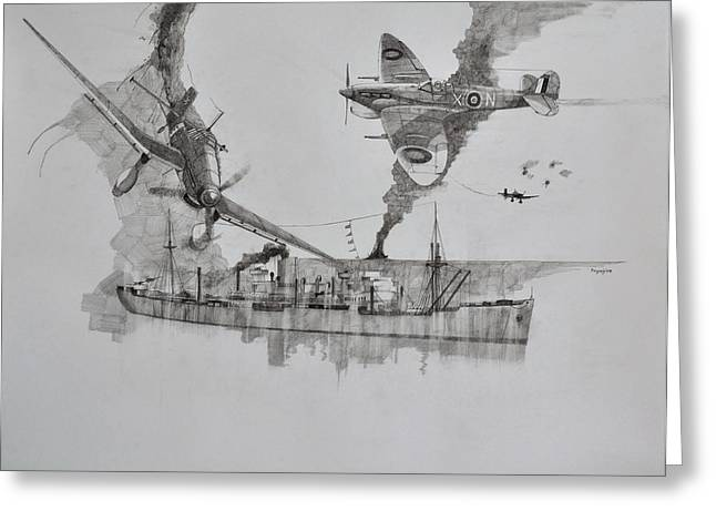 Spitfire Drawings Greeting Cards - SS Port Charmers Greeting Card by Ray Agius