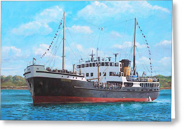 Steam Ship Greeting Cards - SS Shieldhall on a cruise in the Solent Greeting Card by Martin Davey