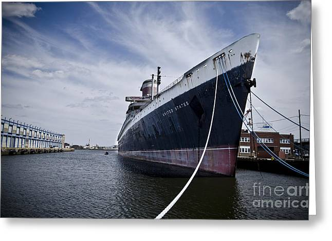 Trans-atlantic Greeting Cards - SS United States Profile Greeting Card by Jessica Berlin