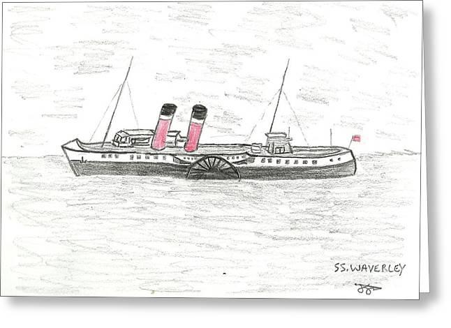 John Williams Drawings Greeting Cards - SS Waverley Greeting Card by John Williams
