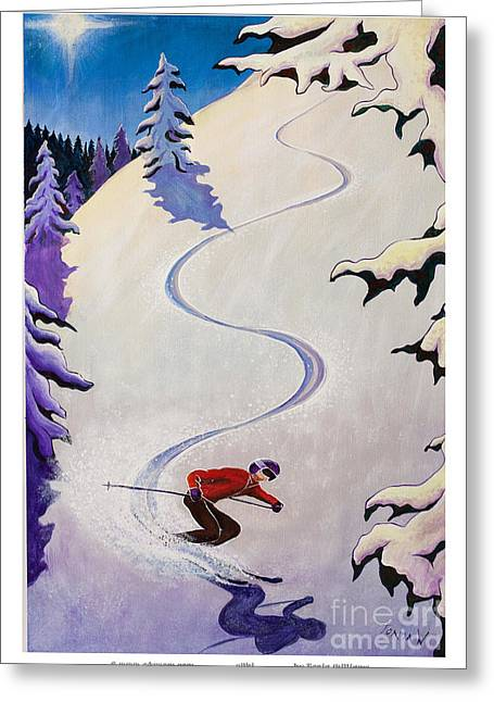 Skiing Prints Paintings Greeting Cards - sSki by o4rsom Greeting Card by Tonia Williams