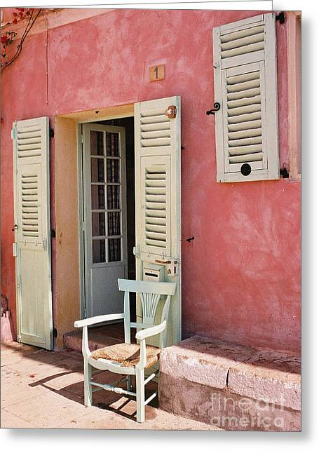 French Doors Greeting Cards - St. Agnes, France Greeting Card by Holly C. Freeman