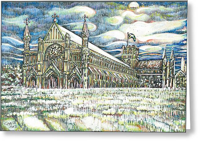 St Albans Abbey - At Sunset Greeting Card by Giovanni Caputo
