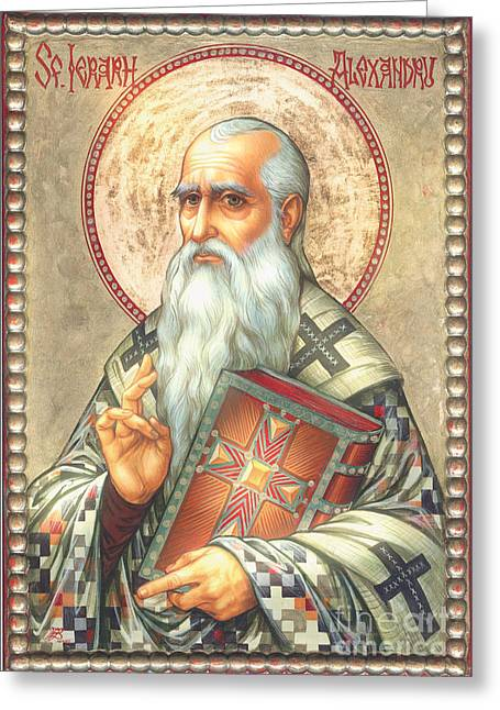 St. Alexander Greeting Card by Zorina Baldescu