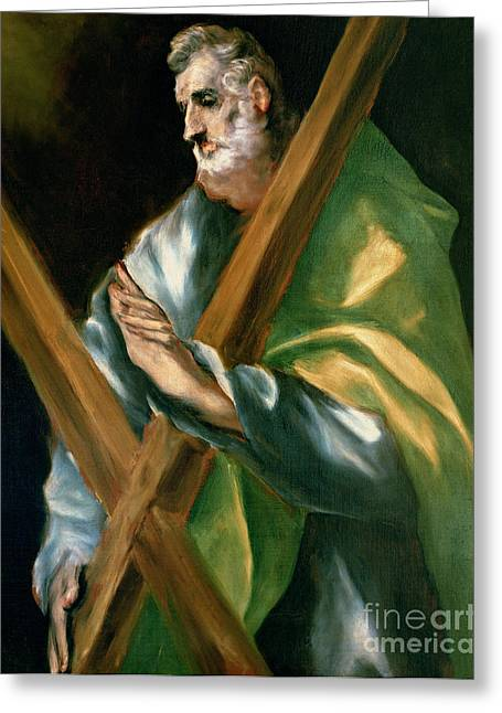 Martyr Greeting Cards - St Andrew Greeting Card by El Greco Domenico Theotocopuli