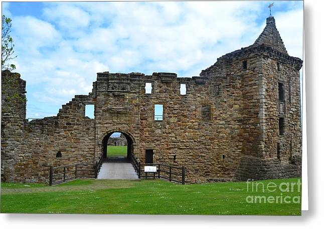 Old Pyrography Greeting Cards - St Andrews castle Greeting Card by Miryam  UrZa
