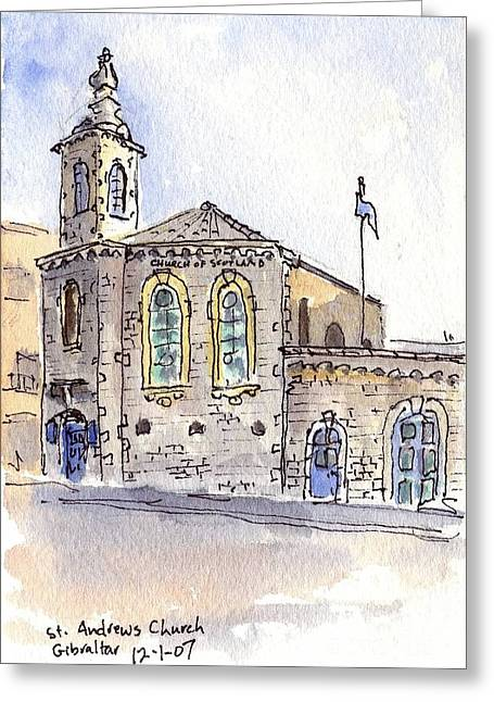 Andrew Michael Greeting Cards - St Andrews Church on Gibraltar Greeting Card by Michael Liebhaber