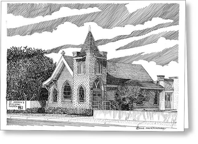 Many Drawings Greeting Cards - St Andrews Las Cruces NM Greeting Card by Jack Pumphrey