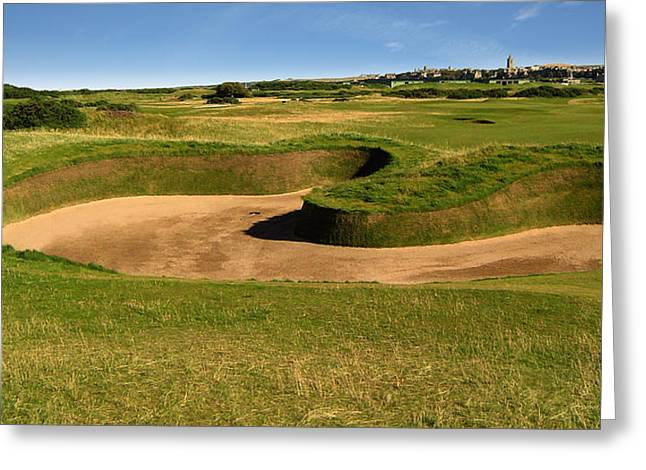 The Link Photographs Greeting Cards - St. Andrews Links Golf Course Hole Hell Bunker Wide Greeting Card by Rich Image