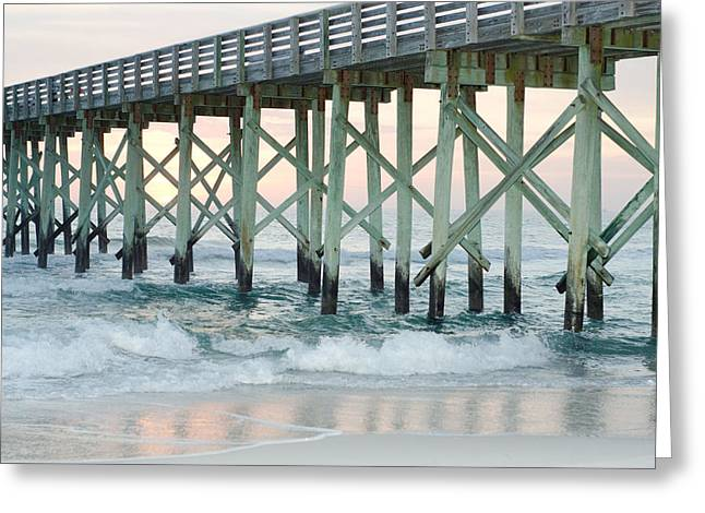 Panama City Beach Greeting Cards - St. Andrews State Park Pier in Winter Greeting Card by April Moran