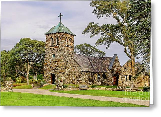 Historic Village Cross Greeting Cards - St Anne church in Kennebunkport Greeting Card by Patricia Hofmeester