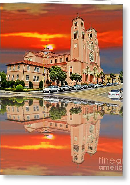 Reflections Of Sky In Water Greeting Cards - St Anne Church of the Sunset in San Francisco with a Reflection  Greeting Card by Jim Fitzpatrick