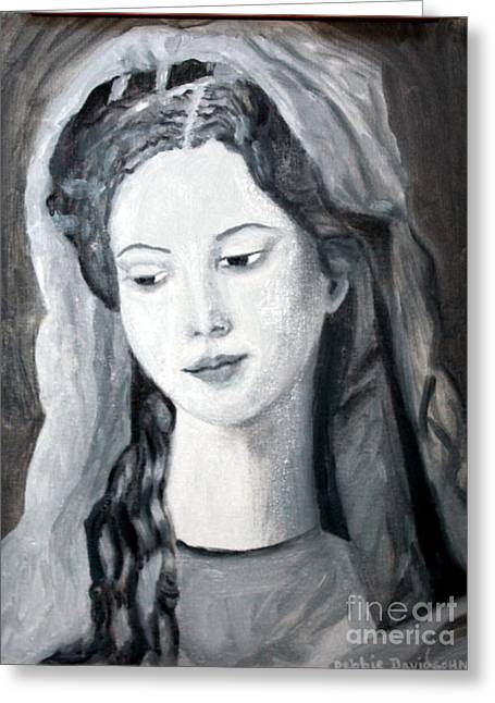 Historical Images Paintings Greeting Cards - St. Anne - Value Work  Greeting Card by Debbie Davidsohn