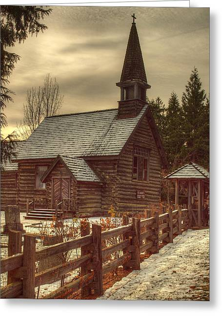 Headstones Greeting Cards - St Annes Church In Winter Greeting Card by Randy Hall