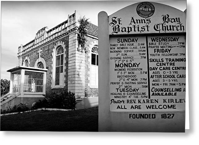 Abolition Greeting Cards - St. Anns Bay Baptist Church with Sign Greeting Card by Stephen Stookey