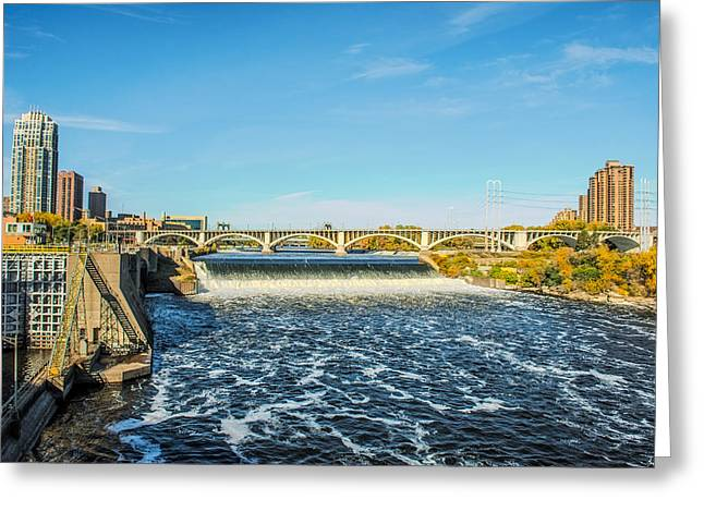 Mississippi Photographs Greeting Cards - St Anthony Falls Greeting Card by Paul Freidlund