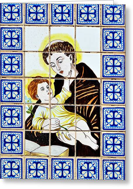 Ceramic Greeting Cards - St Anthony of Padua Greeting Card by Christine Till
