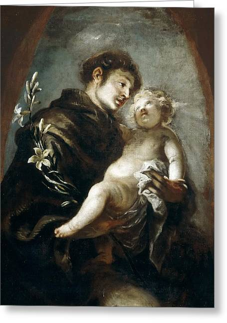 Padua Greeting Cards - St Anthony of Padua Greeting Card by Francisco Herrera the Younger