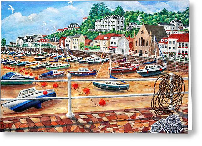 Recently Sold -  - Fishing Boats Greeting Cards - St Aubins Harbour - Jersey Greeting Card by Ronald Haber