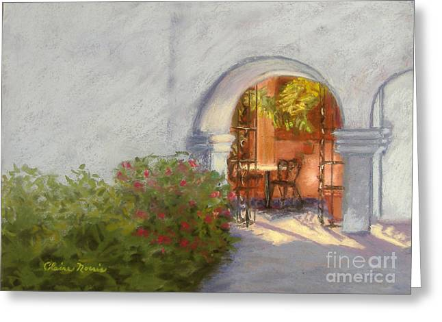 Table And Chairs Pastels Greeting Cards - St. Augustine Alcove Greeting Card by Claire Norris