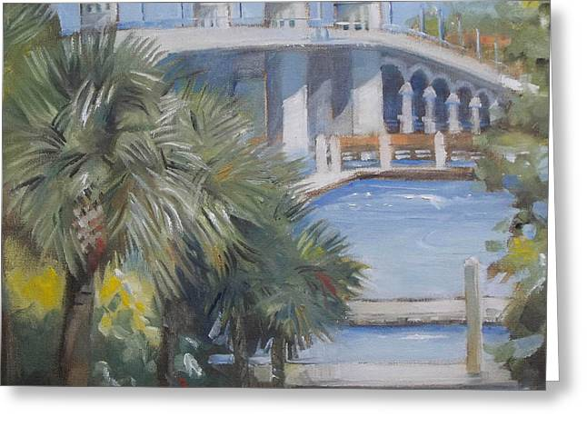 Florida Bridge Paintings Greeting Cards - St Augustine Bridge of Lions Greeting Card by Mary Hubley