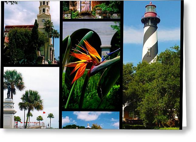 Historic Statue Greeting Cards - St Augustine in Florida - 3 Collage Greeting Card by Susanne Van Hulst