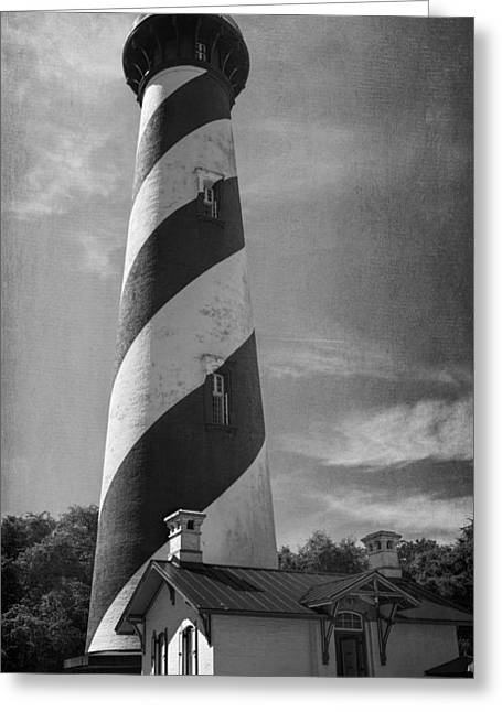 Florida House Greeting Cards - St Augustine Lighthouse BW Greeting Card by Joan Carroll