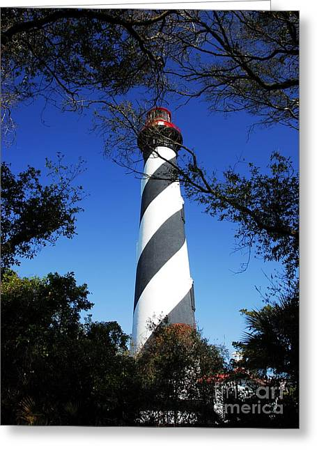 Navigational Greeting Cards - St Augustine Lighthouse Greeting Card by Mel Steinhauer