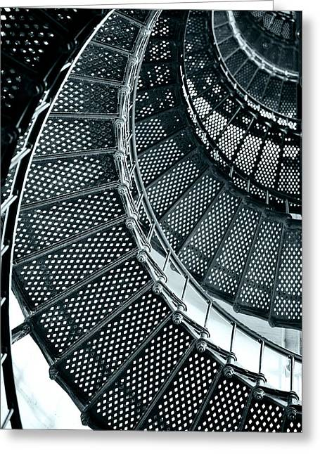 Lit Greeting Cards - St Augustine Lighthouse Staircase Greeting Card by Christine Till