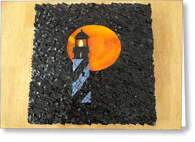 Moon Beach Glass Art Greeting Cards - St Augustine Lighthouse Under A Harvest Moon Greeting Card by Maggie Deitsch