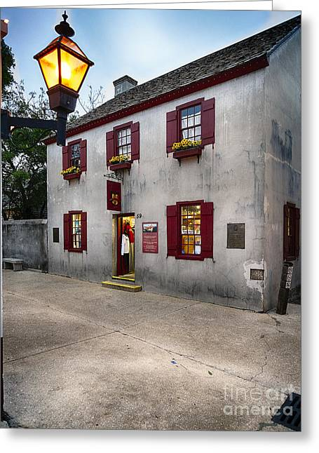 Florida House Greeting Cards - St Augustine Street Corner Greeting Card by George Oze