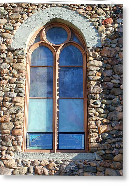 Glass Wall Greeting Cards - St. Augustine Window Greeting Card by Mary Bedy