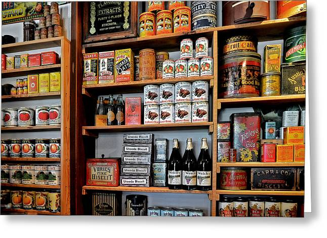 Canned Goods Greeting Cards - St Augustines Oldest Store Greeting Card by Christine Till