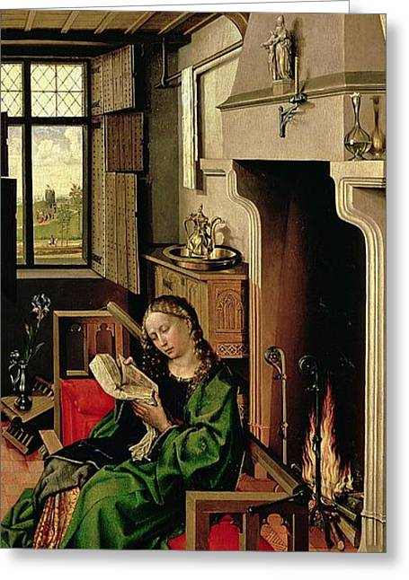 Fireplace Greeting Cards - St. Barbara From The Right Wing Of The Werl Altarpiece, 1438 Oil On Panel See Also 68547 Greeting Card by Master of Flemalle