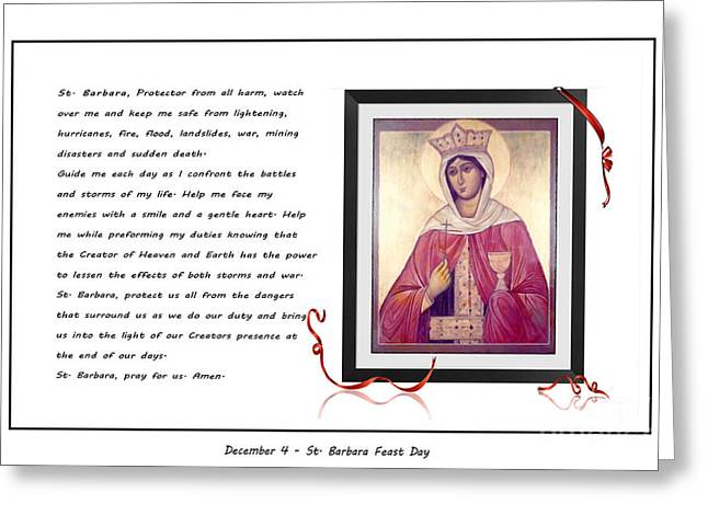 Martyrs Digital Art Greeting Cards - St. Barbara Protector from all Harm - Prayer - Petition Greeting Card by Barbara Griffin