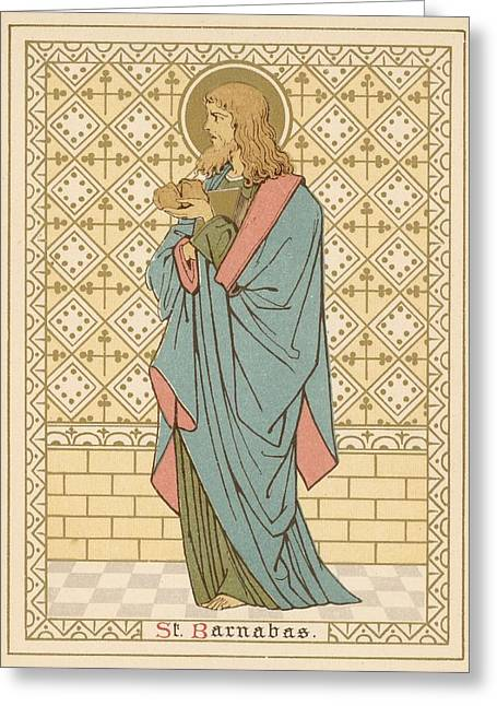 Robe Drawings Greeting Cards - St Barnabas Greeting Card by English School