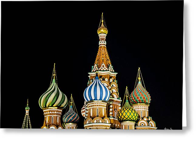 St Basils Greeting Cards - St. Basils Cathedral at Night Greeting Card by Madeline Ellis