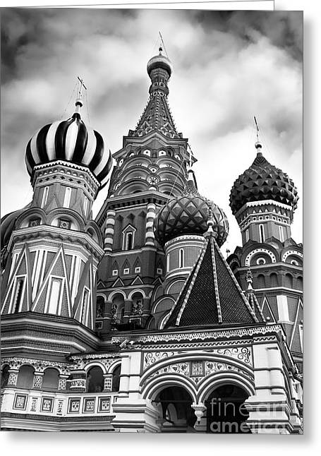 Cupola Greeting Cards - St Basils Cathedral in Moscow Russia Black and white Greeting Card by Oleksiy Maksymenko
