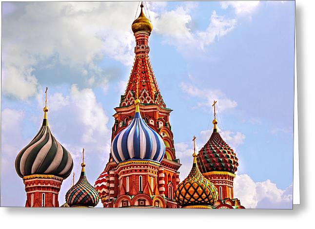 Madeline Ellis Greeting Cards - St. Basils Cathedral - Moscow - Russia Greeting Card by Madeline Ellis