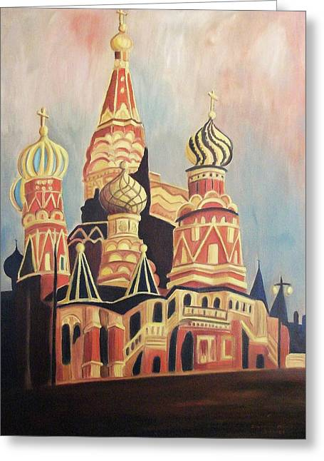 Suzanne Marie Molleur Paintings Greeting Cards - St Basils Cathedral Moscow Greeting Card by Suzanne  Marie Leclair