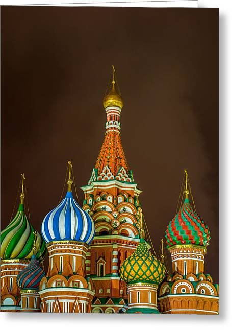 Russian Cross Greeting Cards - St. Basils Cathedral - Square Greeting Card by Alexander Senin