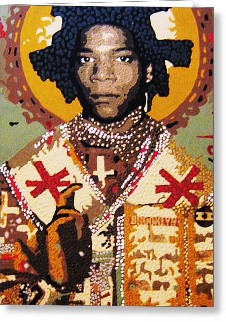 Flashy Greeting Cards - St. Basquiat Greeting Card by Voodo Fe Culture