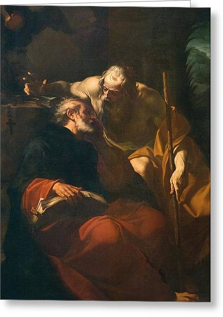 Hermit Greeting Cards - St. Benedict and a Hermit Greeting Card by Domenico Maria Viani