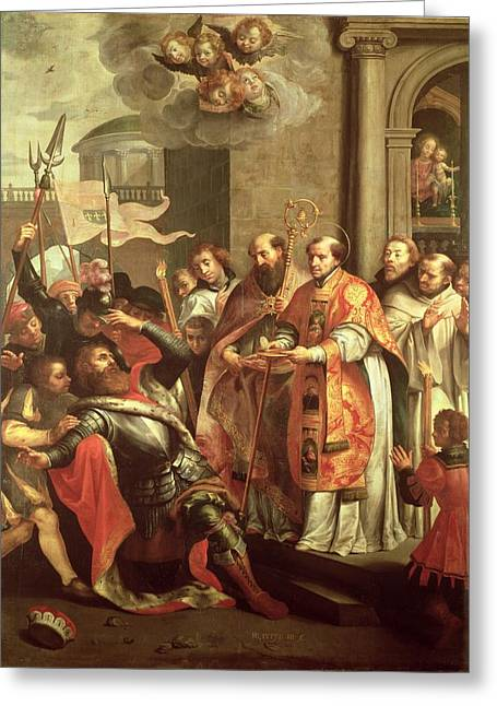 Eucharist Greeting Cards - St. Bernard Of Clairvaux 1090-1153 And William X 1099-1137 Duke Of Aquitaine Oil On Canvas Greeting Card by Martin Pepyn or Pepin