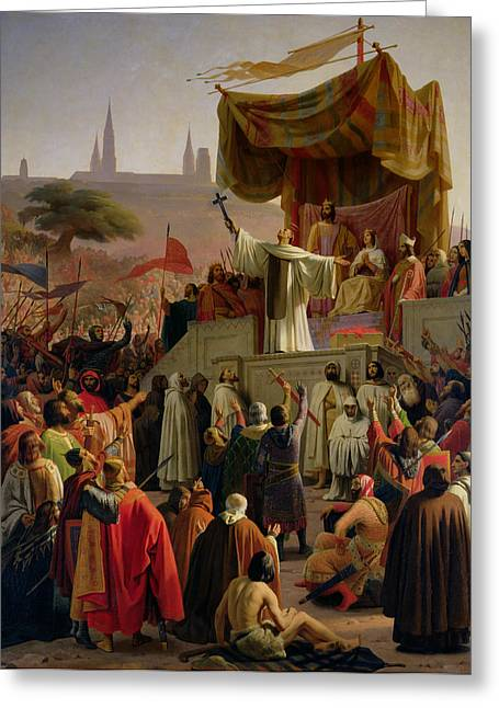 Crusade Greeting Cards - St Bernard Preaching the Second Crusade in Vezelay Greeting Card by Emile Signol