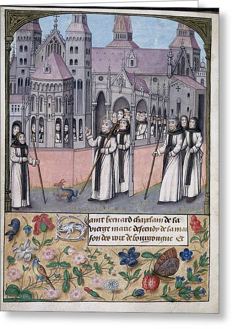 St Bernard With Monks Of Citeaux Greeting Card by British Library
