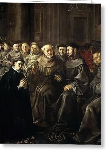 Bonaventure Greeting Cards - St Bonaventure Enters the Franciscan Order Greeting Card by Francisco Herrera the Elder
