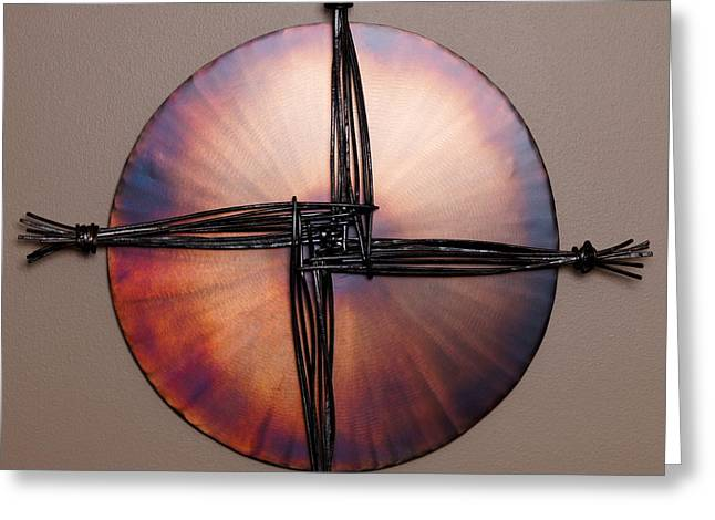 Wall Reliefs Greeting Cards - St. Brigids Cross Greeting Card by Chip Vander Wier